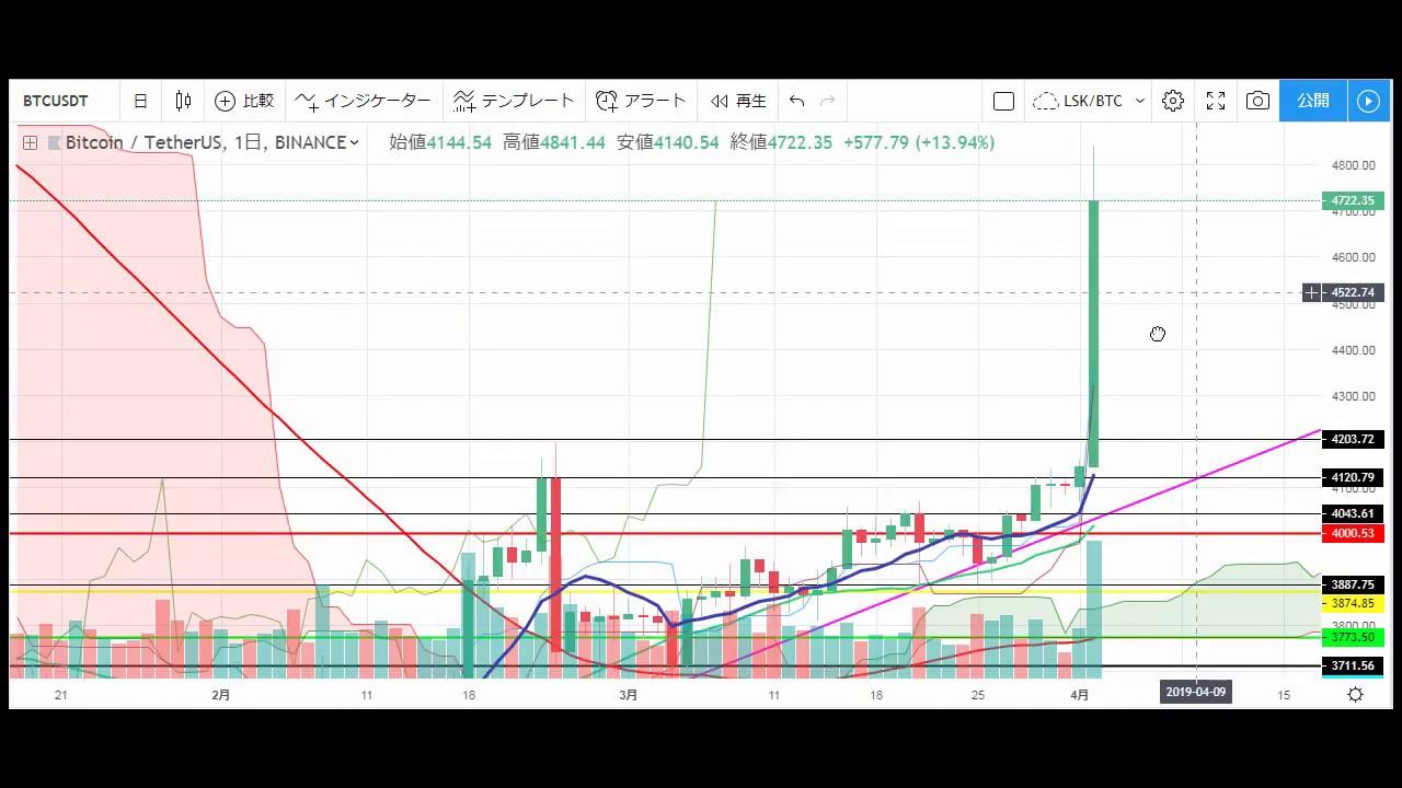 【仮想通貨 ビットコイン(BTC)】年号発表の翌日に大暴騰!!今後をチャート分析4.2(Bitcoin)